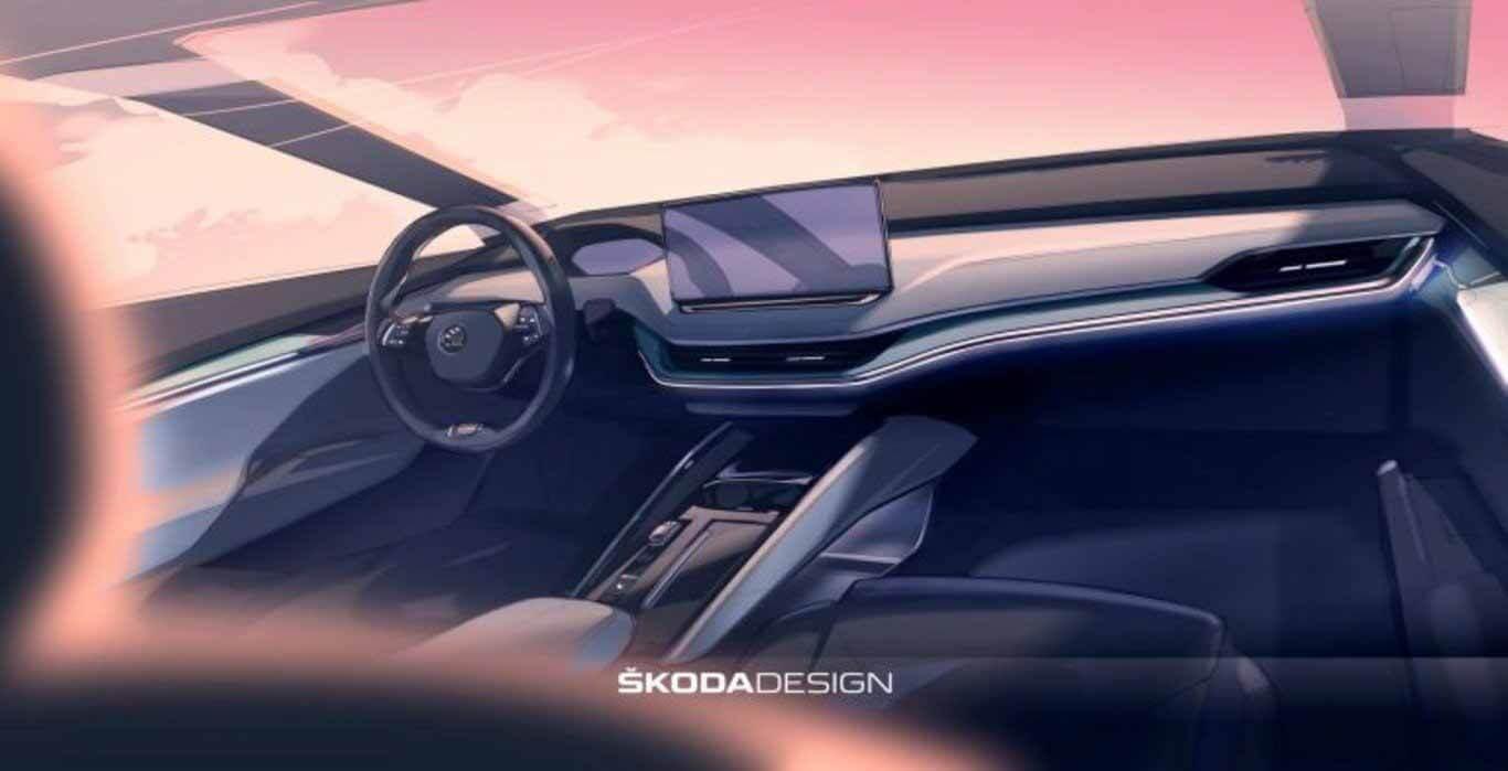 Футуристический интерьер Skoda Enyaq iV 2021 показан на фото